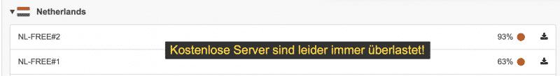 Kostenlose ProtonVPN Server - Überlastet!