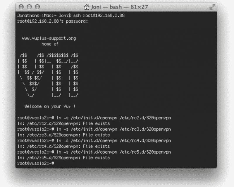 VU+ OpenVPN gestartet