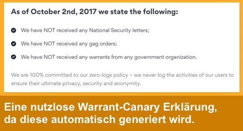 NordVPN - Nutzlose Warrant Canary