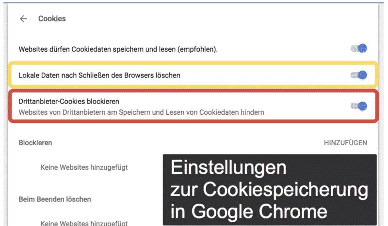 Einstellungen zur Cookiespeicherung in Google Chrome
