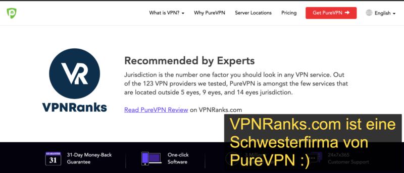 PureVPN Testbericht bei VPNranks.com