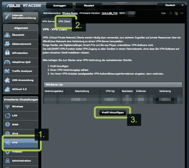 PureVPN auf ASUS Router - Schritt 2