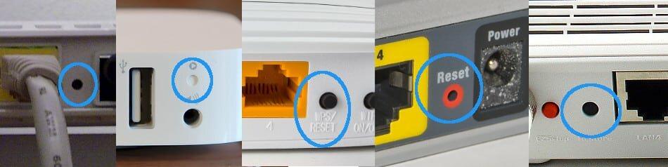 Router zurücksetzen RESET Knöpfe