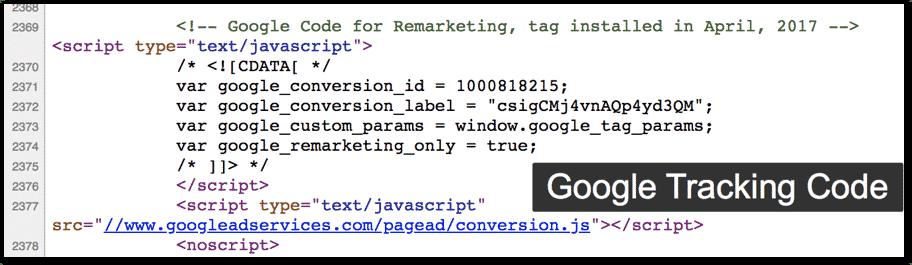 Google Tracking-Code im Quelltext einer Webseite