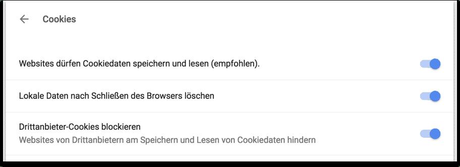 Browsereinstellungen Cookies