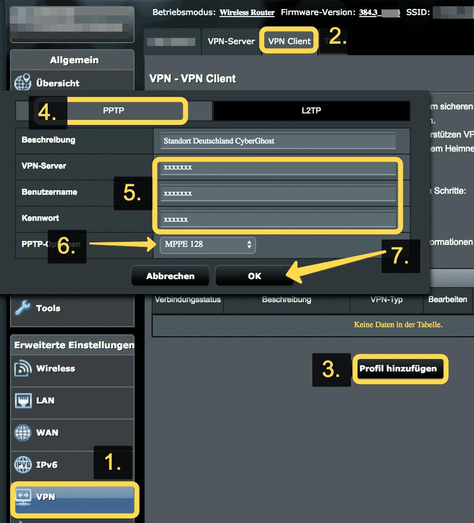 CyberGhost VPN Anleitung für ASUS Router mit PPTP
