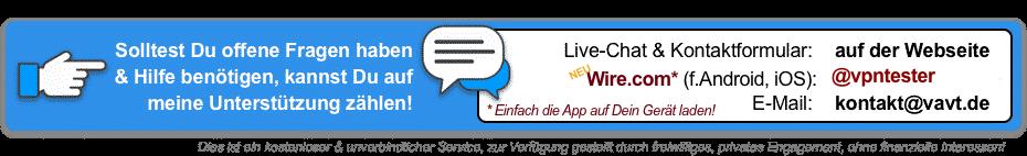 Live-Chat und Kontaktdaten