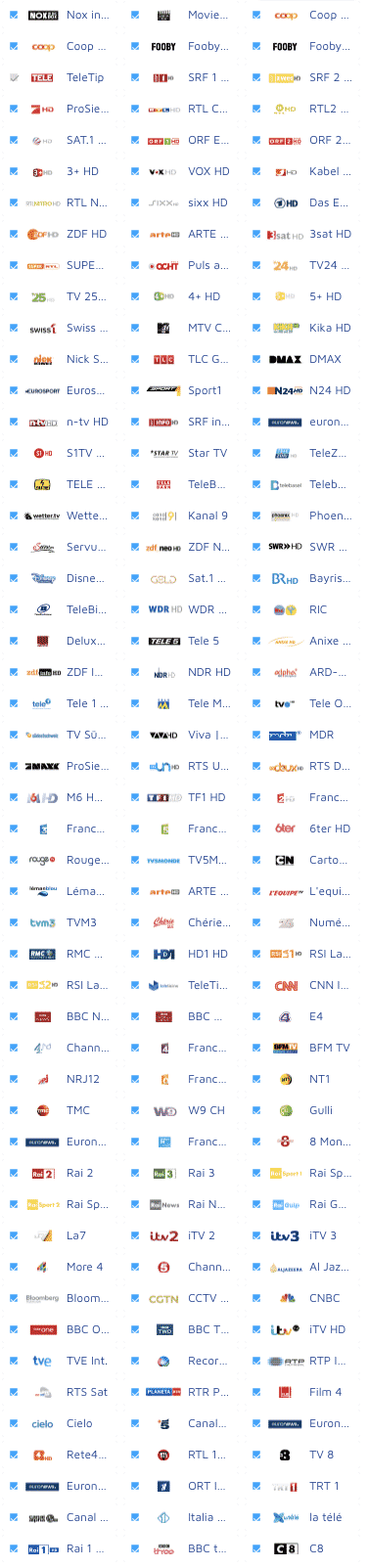Wilmaa TV Senderliste 150 Programme