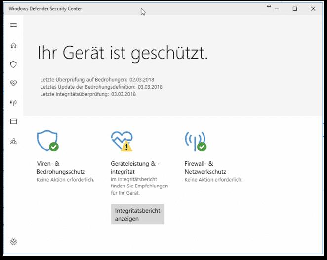 Windows Defender (Firewall, Malwareschutz, Virenschutz)