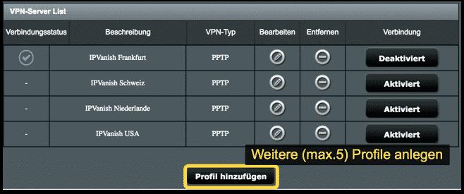 Weitere VPN-Profile anlegen
