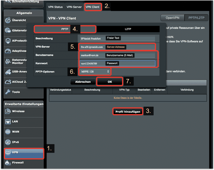 PPTP VPN-Profil erstellen