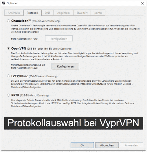 VyprVPN Protokollauswahl - Beispiel