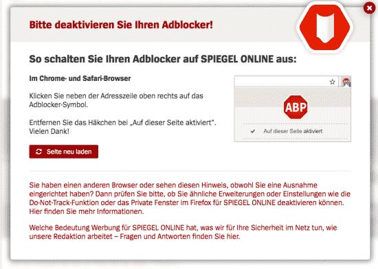 Adblock Hinweisfenster Spiegel.de