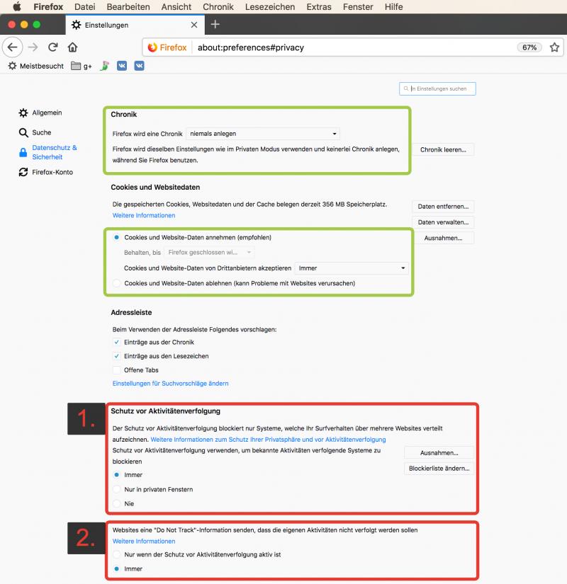 Anleitung: Einstellungen für den Datenschutz in Firefox