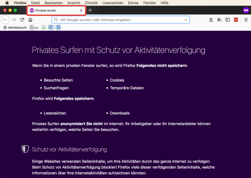 "Anleitung: Firefox ""Privates Fenster"""