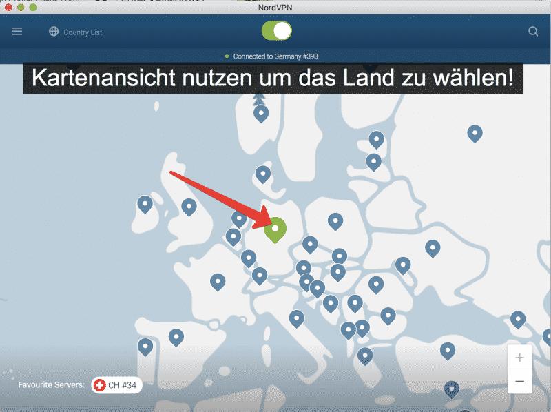 NordVPN Kartenansicht gewünschten Standort wählen