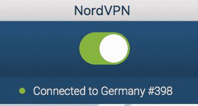 NordVPN Status CONNECTED - Verbunden