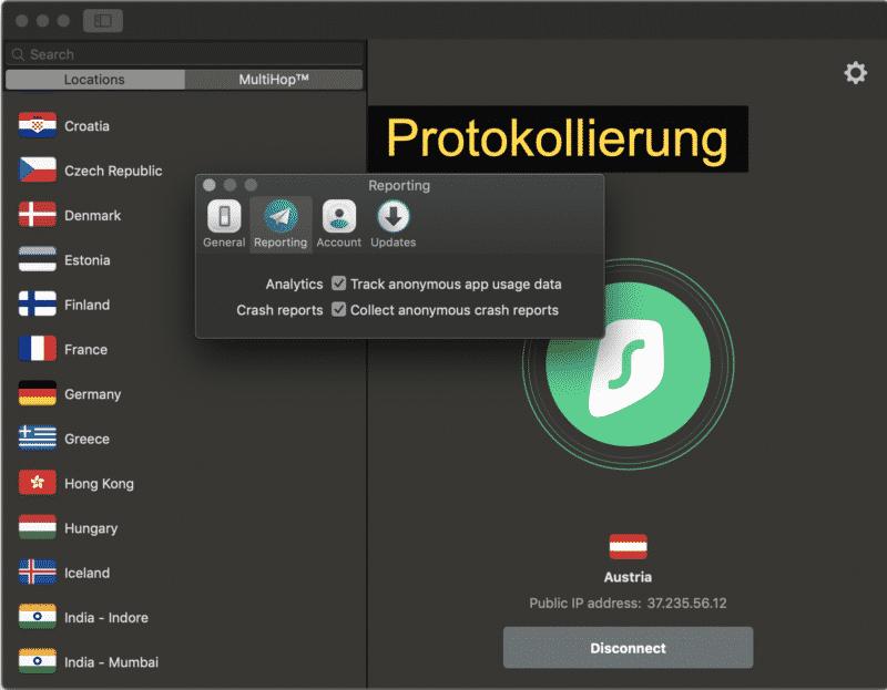 Surfshark Zugangssoftware für Mac