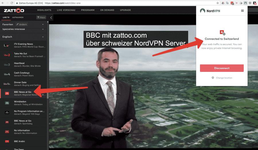 BBC über zattoo.com mit NordVPN - Standort Schweiz