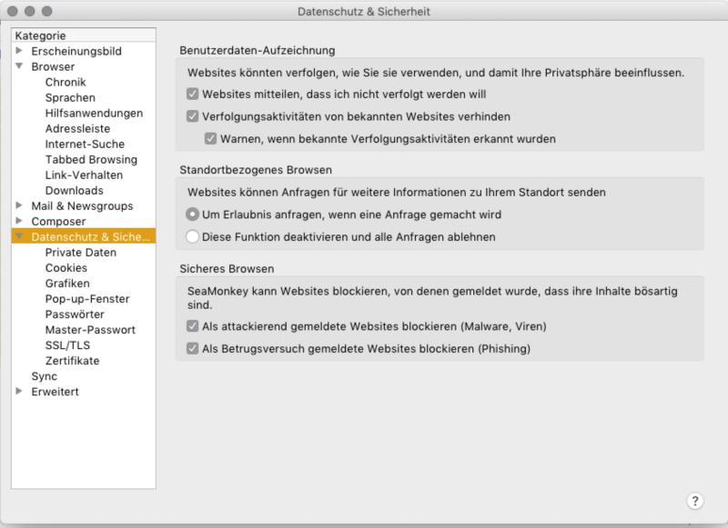 SeaMonkey Browser Einstellungen