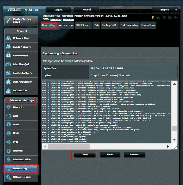 ASUS Router - Systemprotokoll Abb.2