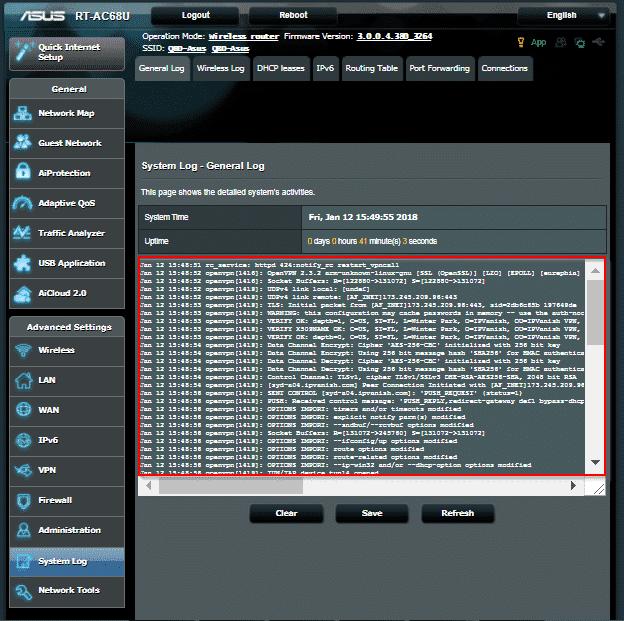 ASUS Router - Systemprotokoll Abb.5