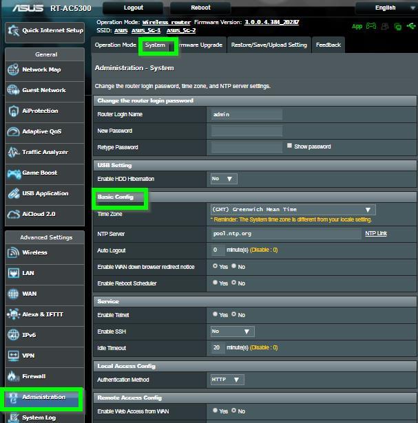 ASUS Router Systemzeit einstellen Abb.4