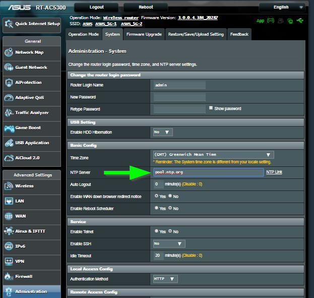ASUS Router Systemzeit einstellen Abb.3