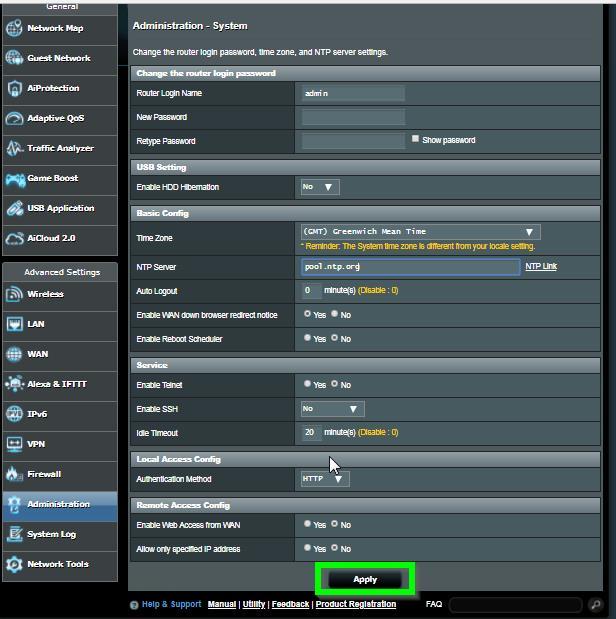 ASUS Router Systemzeit einstellen Abb.2