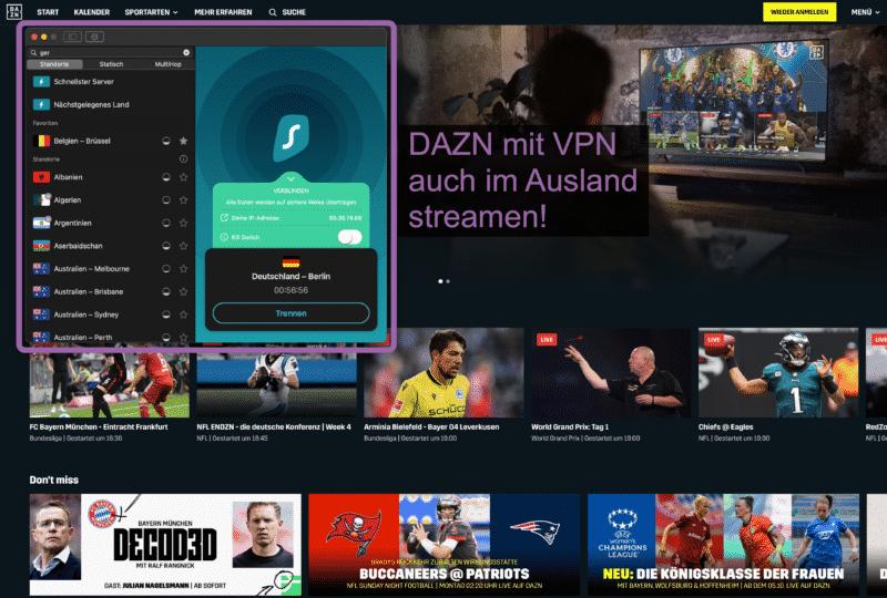 DAZN mit VPN streamen