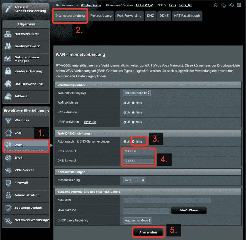 DNS ändern auf ASUS Routern