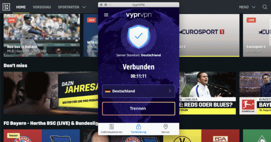 DAZN deutschland mit VyprVPN Streaming