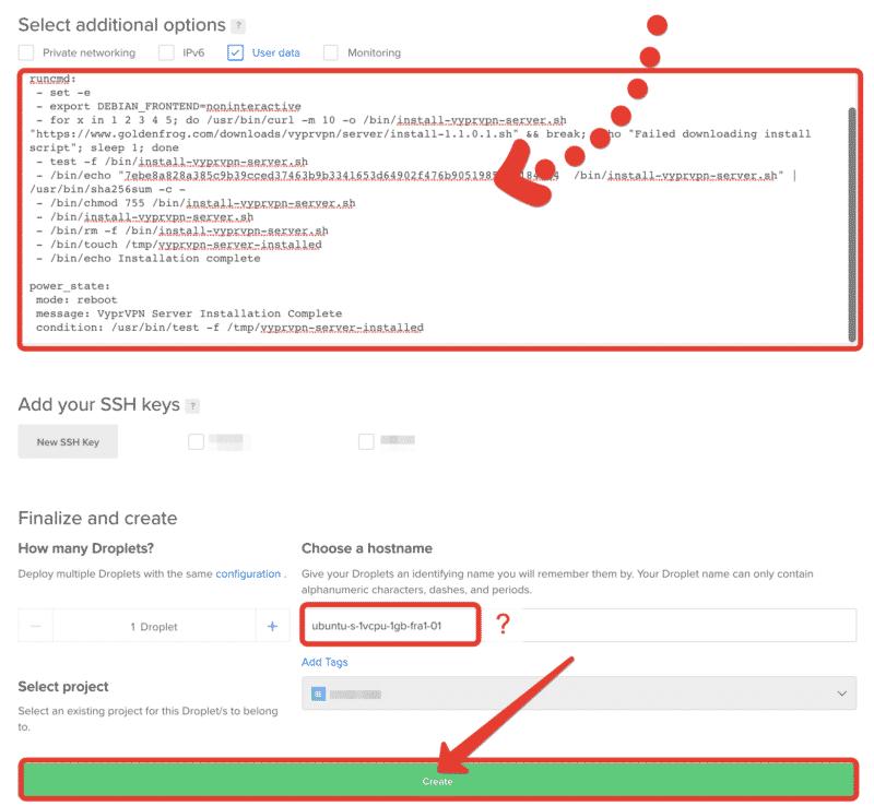 """Programmcode in das Feld kopieren und auf """"Create"""" klicken"""