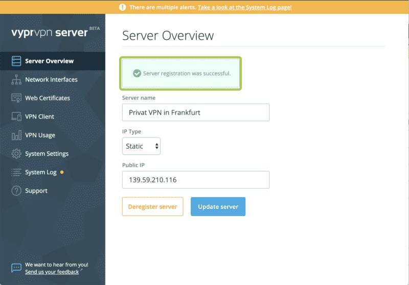 Erfolgreiche Server-Registrierung