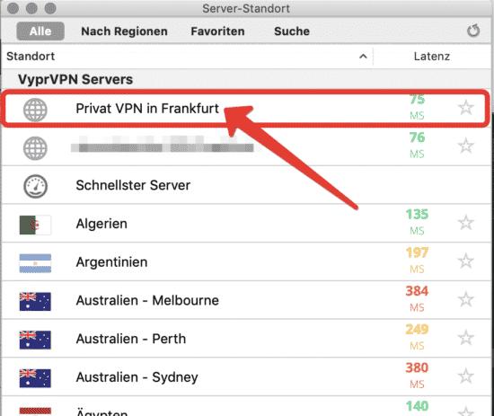 Standortliste in der VyprVPN App