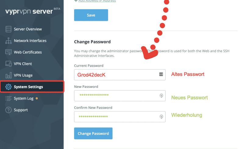 VyprVPN Server Passwort ändern