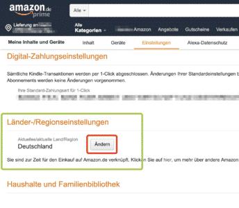 Amazon Ländereinstellungen