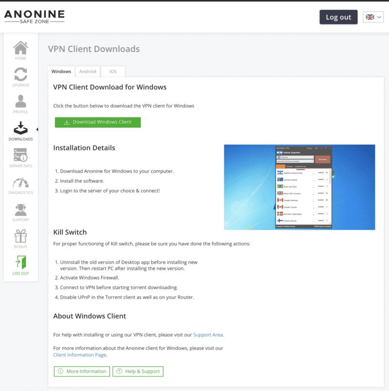 Anonine VPN mit Tipps und Hilfe zur Installation der eigenen Anwendungen