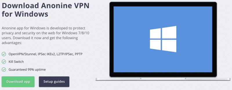 Anonine VPN Anwendung für Windows Geräte