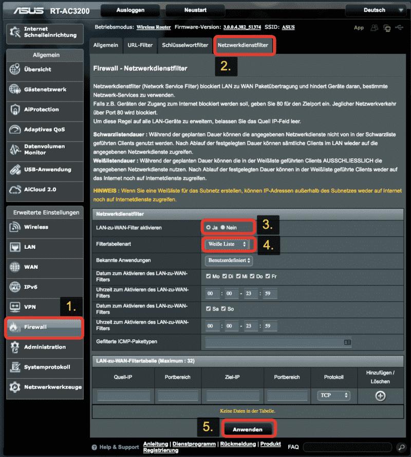 Netzwerkfilter am ASUS Router konfigurieren