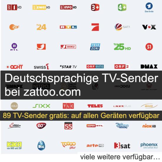 Deutsche TV Sender bei zattoo.com