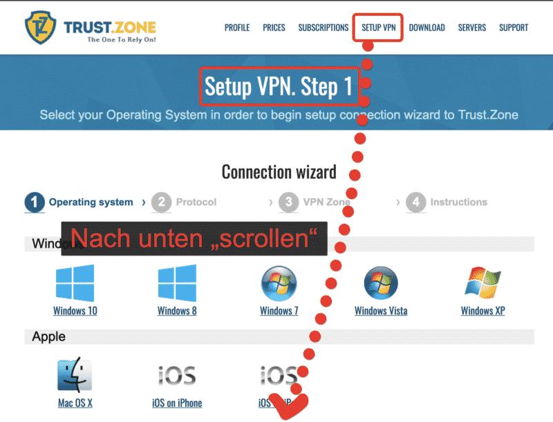 """VPN-Setup und nach unten """"scrollen"""""""