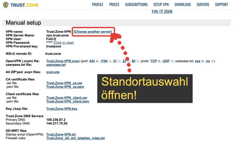 Trust.Zone VPN zur Standortauswahl