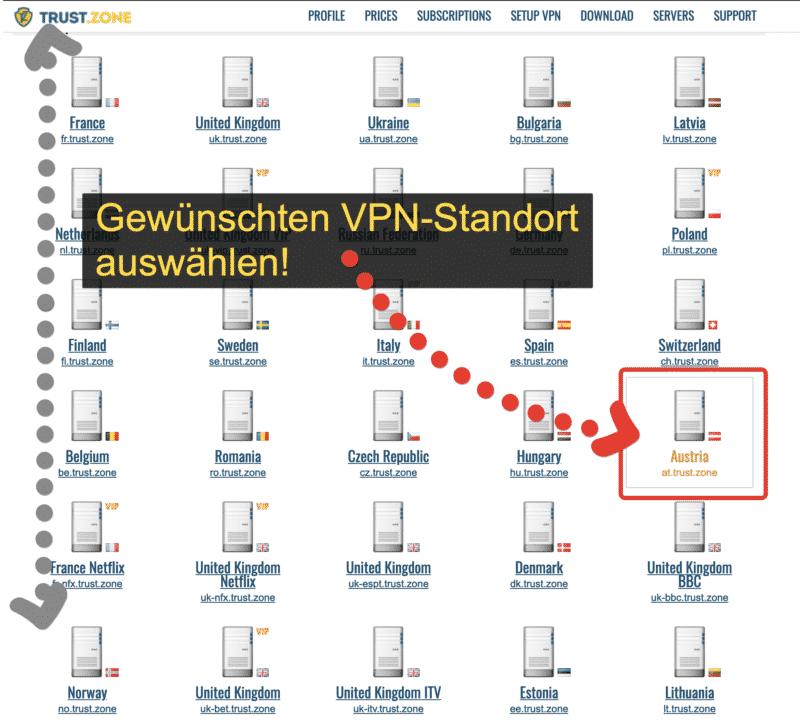 Trust.Zone VPN Standortauswahlfenster