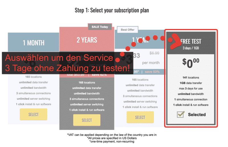 """Trust.Zone """"3 Tage kostenlos"""" auswählen"""