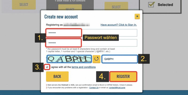 Passwort wählen und bestätigen.