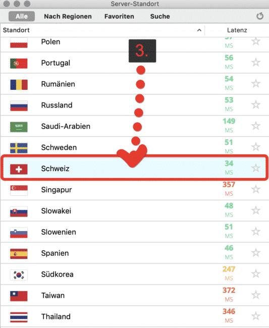 """VyprVPN """"Schweiz"""" wählen"""