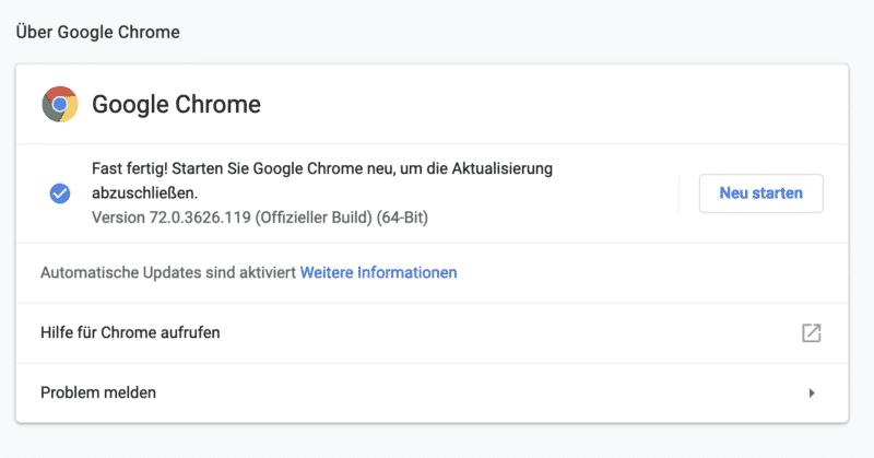 Google Chrome Sicherheitslücke - Update notwendig - Neustart