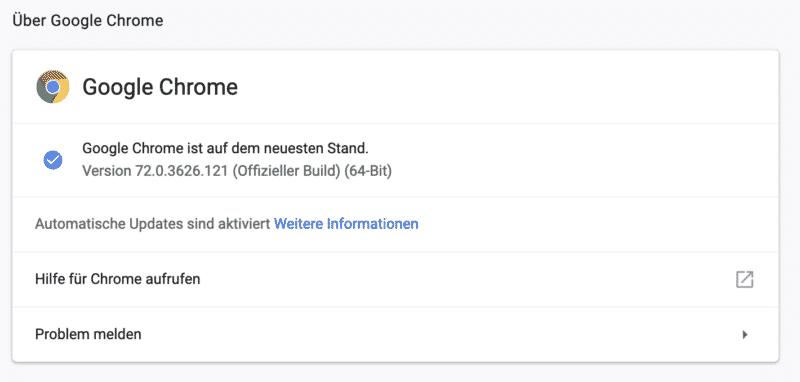 Google Chrome Sicherheitslücke - Update erledigt.