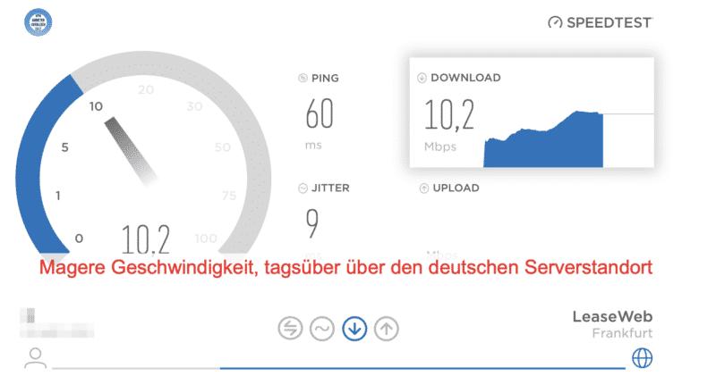 FastestVPN Geschwindigkeitstest (Serverstandort Deutschland nach Testserver in Deutschland)